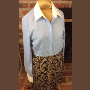 Collared Shirt Dress with Snakeskin Print Skirt